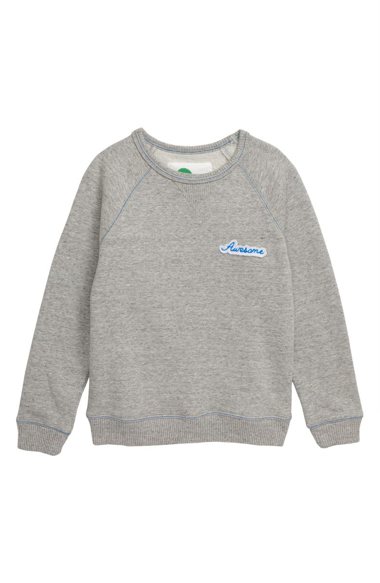 MINI BODEN Awesome Raw Edge Sweatshirt, Main, color, DARK GREY