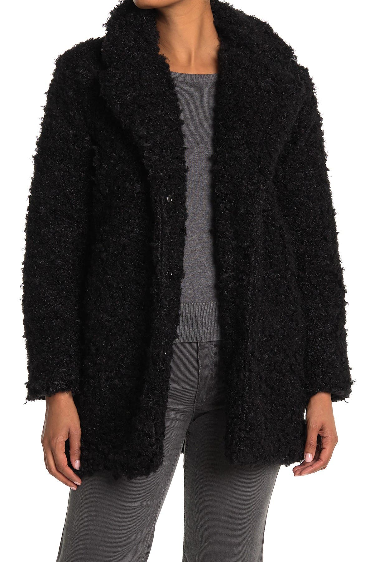 Kendall + Kylie Faux Fur Notch Collar Jacket In Black