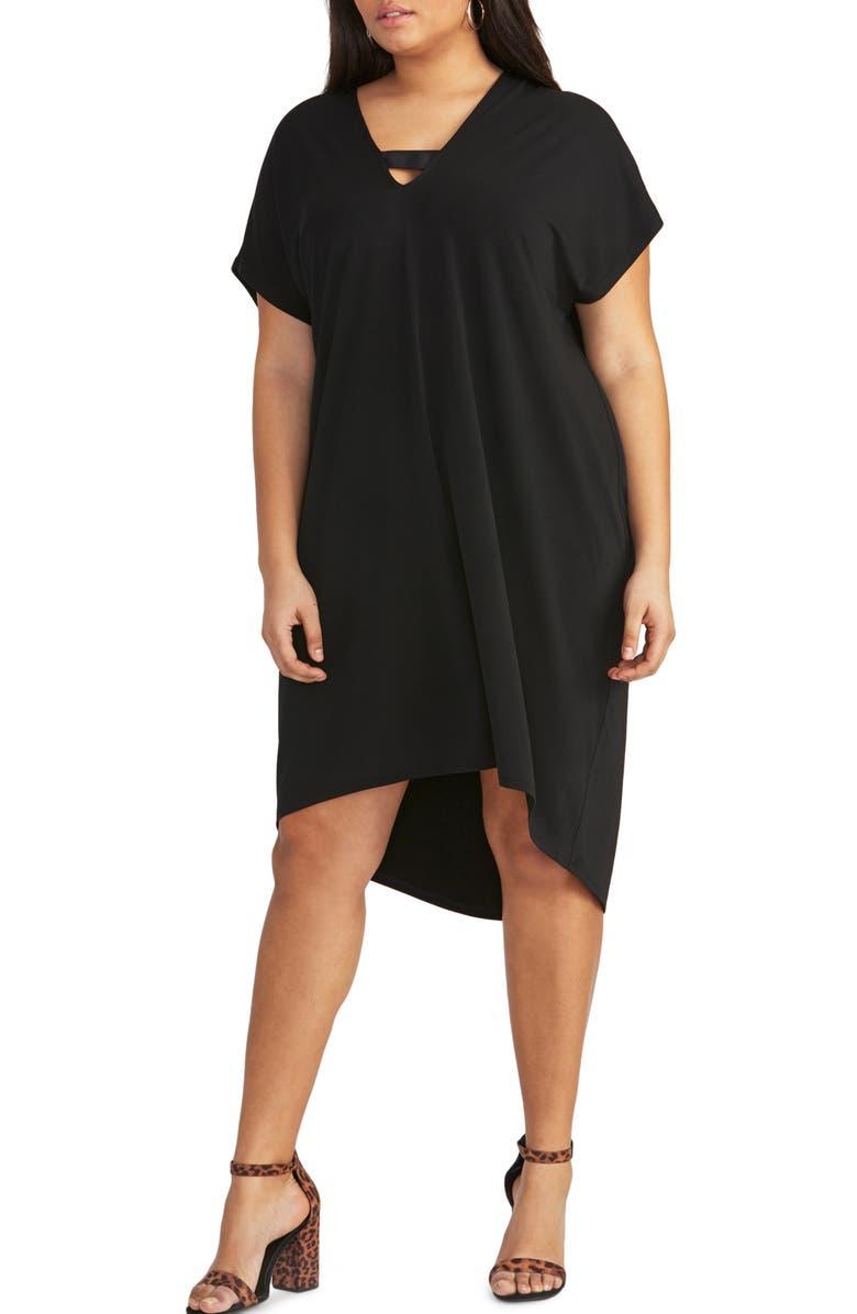 RACHEL RACHEL ROY Byna High/Low Jersey Shift Dress, Main, color, 001