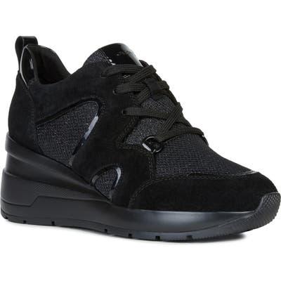 Geox Zosma Wedge Sneaker, Black