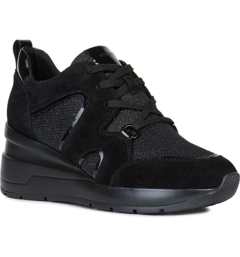 GEOX Zosma Wedge Sneaker, Main, color, BLACK SUEDE