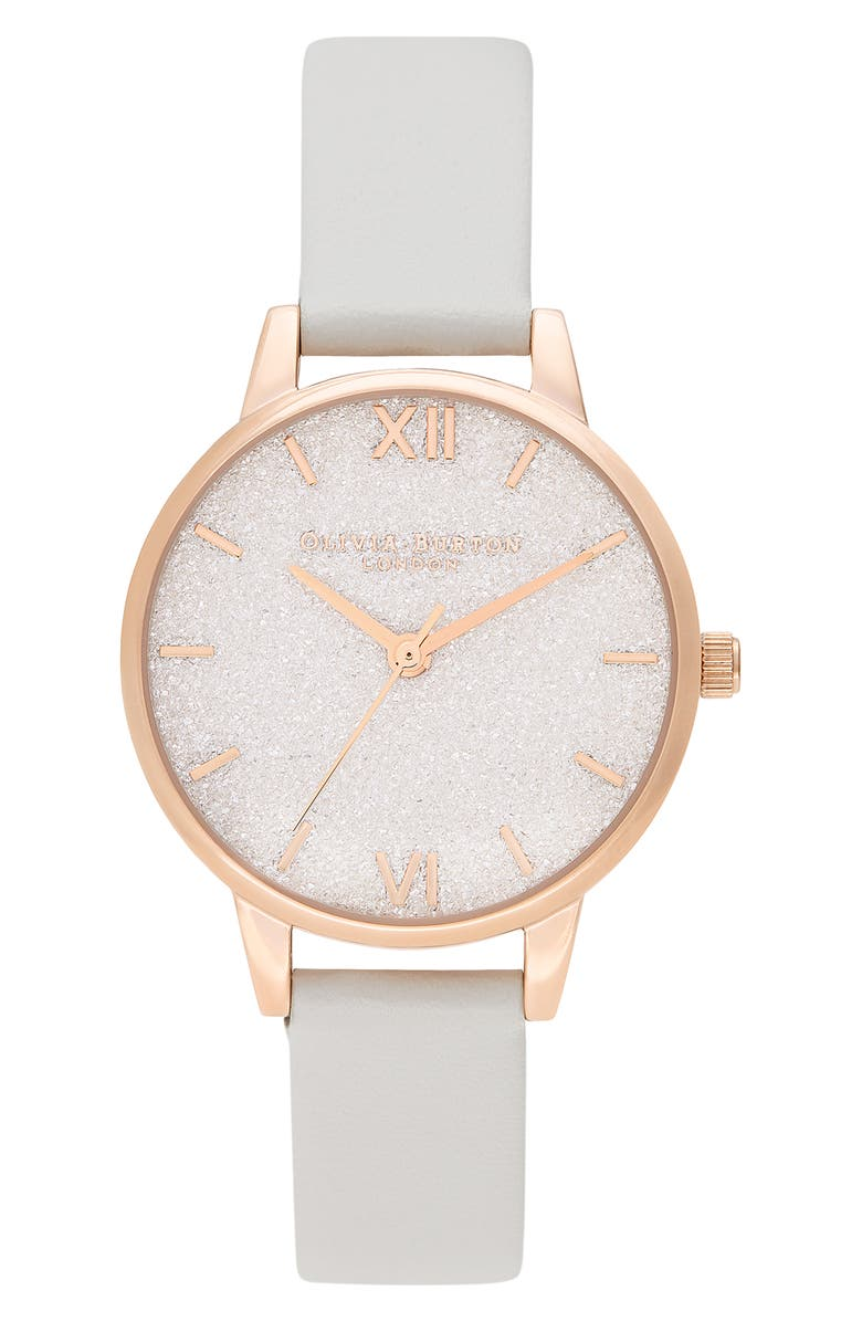 OLIVIA BURTON Glitter Dial Eco Faux Leather Strap Watch, 34mm, Main, color, BLUSH/ GLITTER/ ROSE GOLD