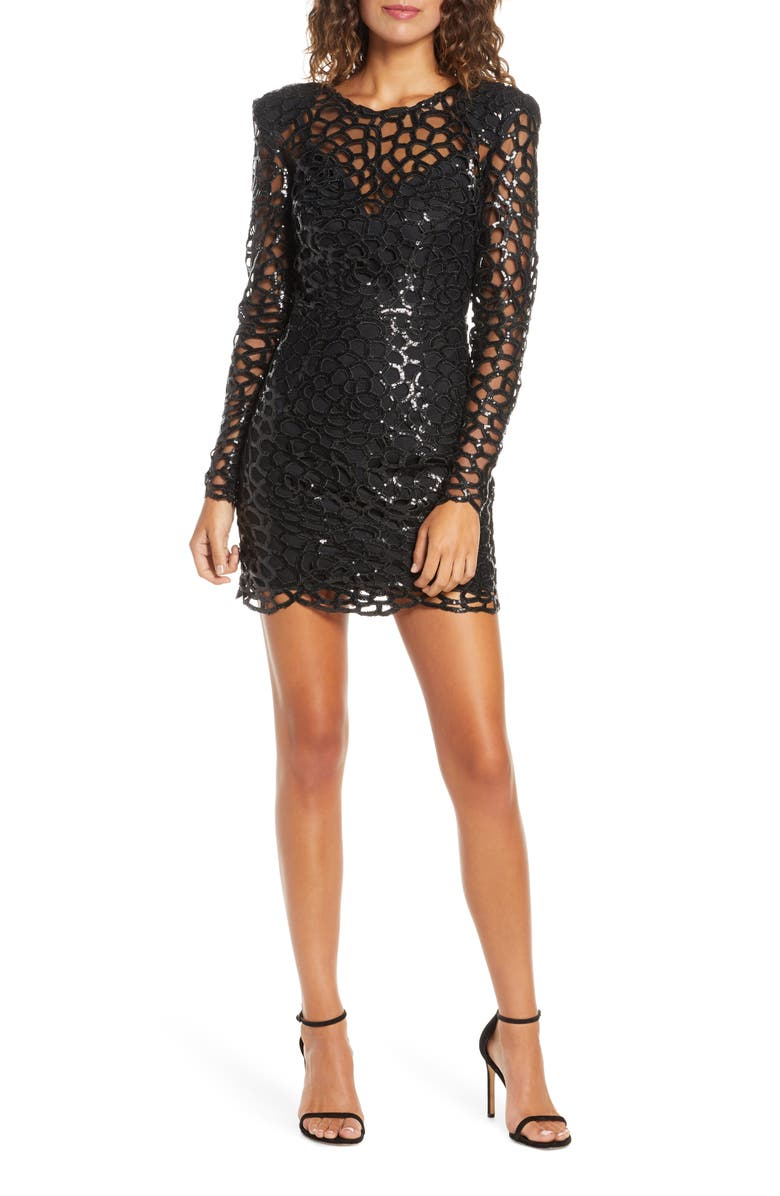 BRONX AND BANCO Spider Sequin Web Long Sleeve Minidress, Main, color, BLACK