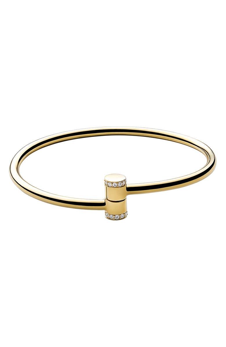 MIANSAI White Sapphire Pillar Cuff Bracelet, Main, color, POLISHED GOLD/ WHITE SAPPHIRE