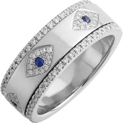 Ef Collection Evil Eye Diamond & Sapphire Band Ring