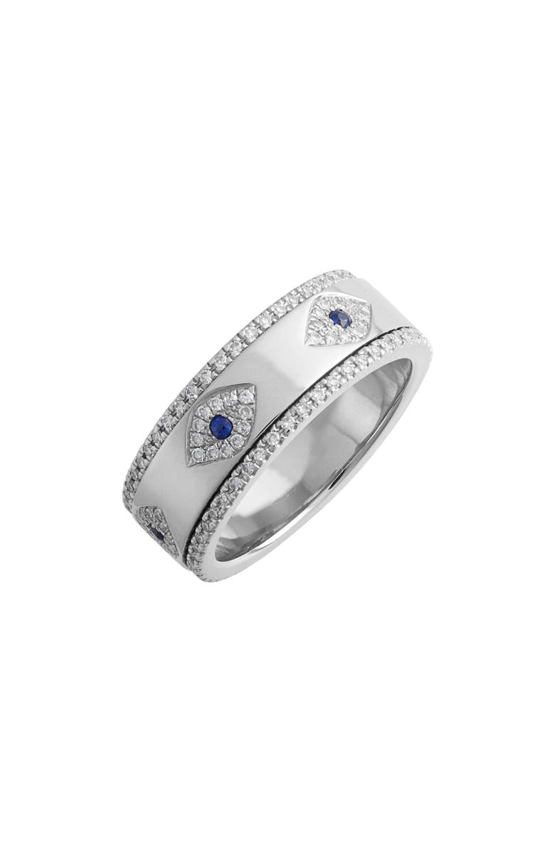 EF COLLECTION Evil Eye Diamond & Sapphire Band Ring, Main, color, WHITE GOLD/ DIAMOND
