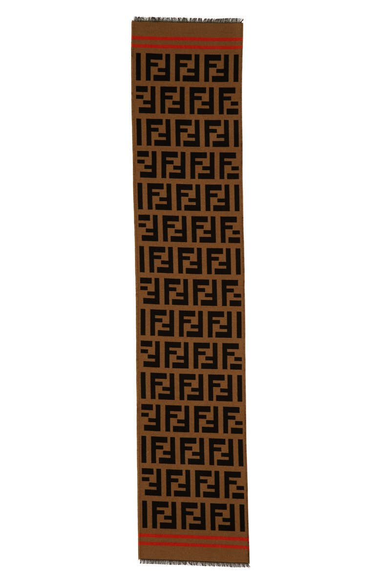 FENDI Macro Logo Wool & Silk Scarf, Main, color, 200