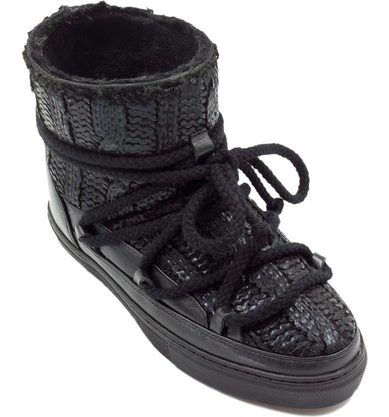 INUIKII Galway Genuine Sheepskin Sneaker Boot, Main, color, BLACK