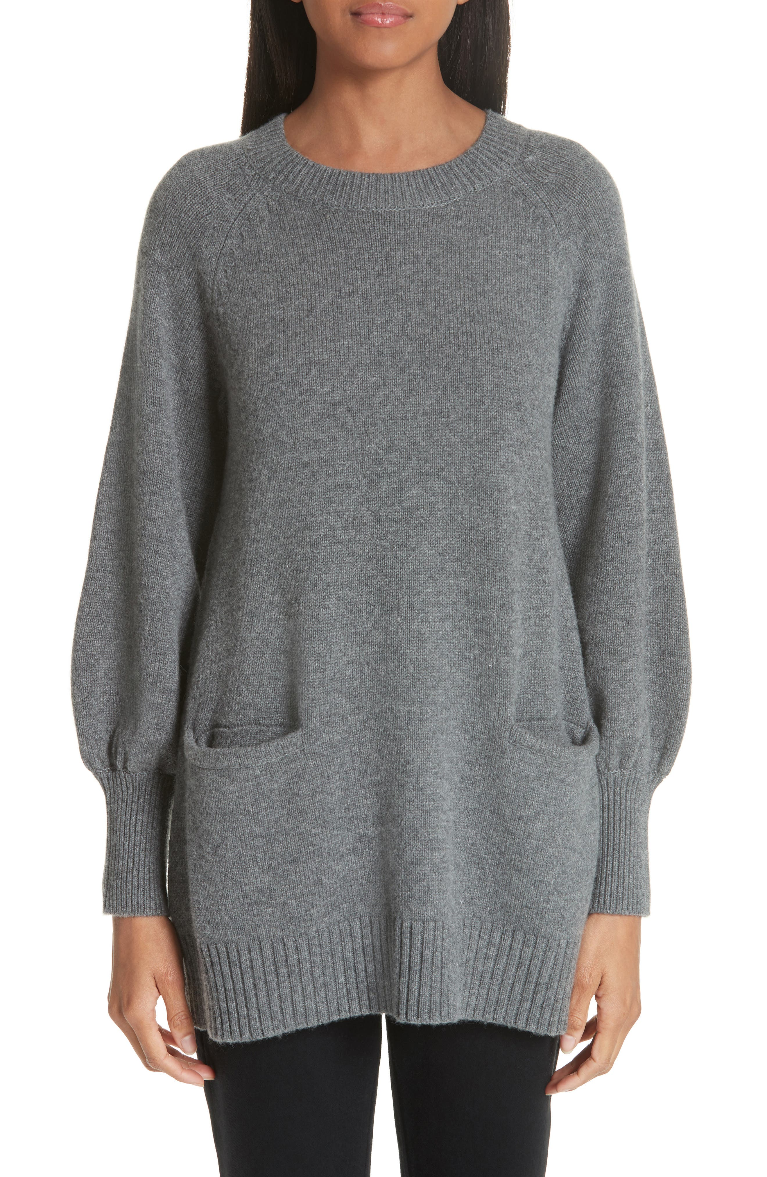Wool & Cashmere Tunic Sweater, Main, color, GREY