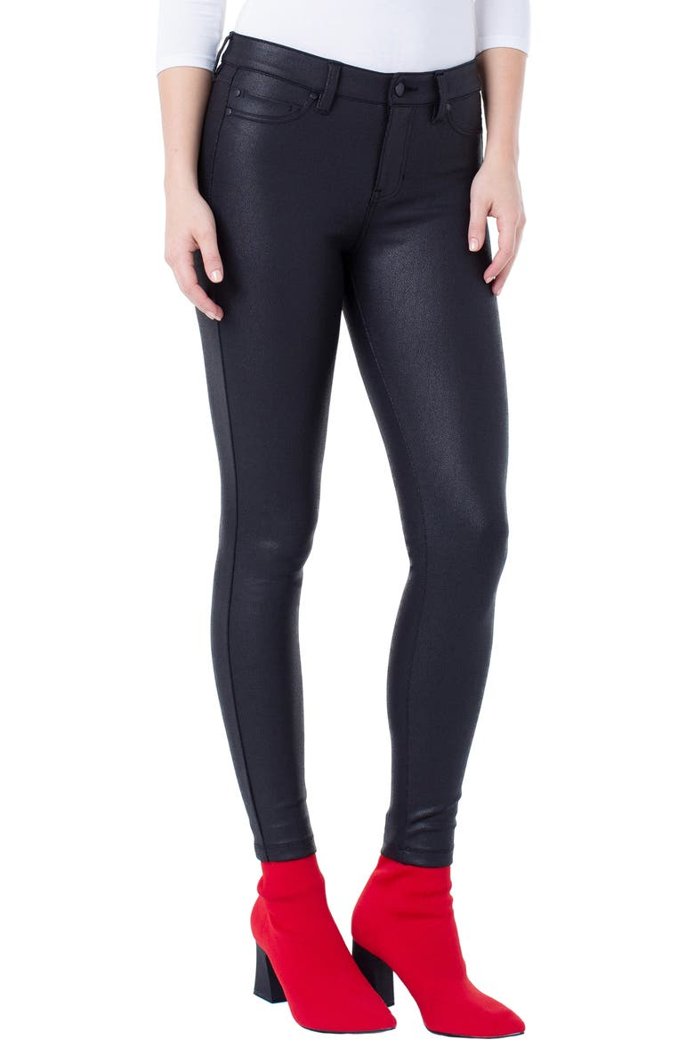 LIVERPOOL Super Skinny Faux Leather Pants, Main, color, COATED BLACK