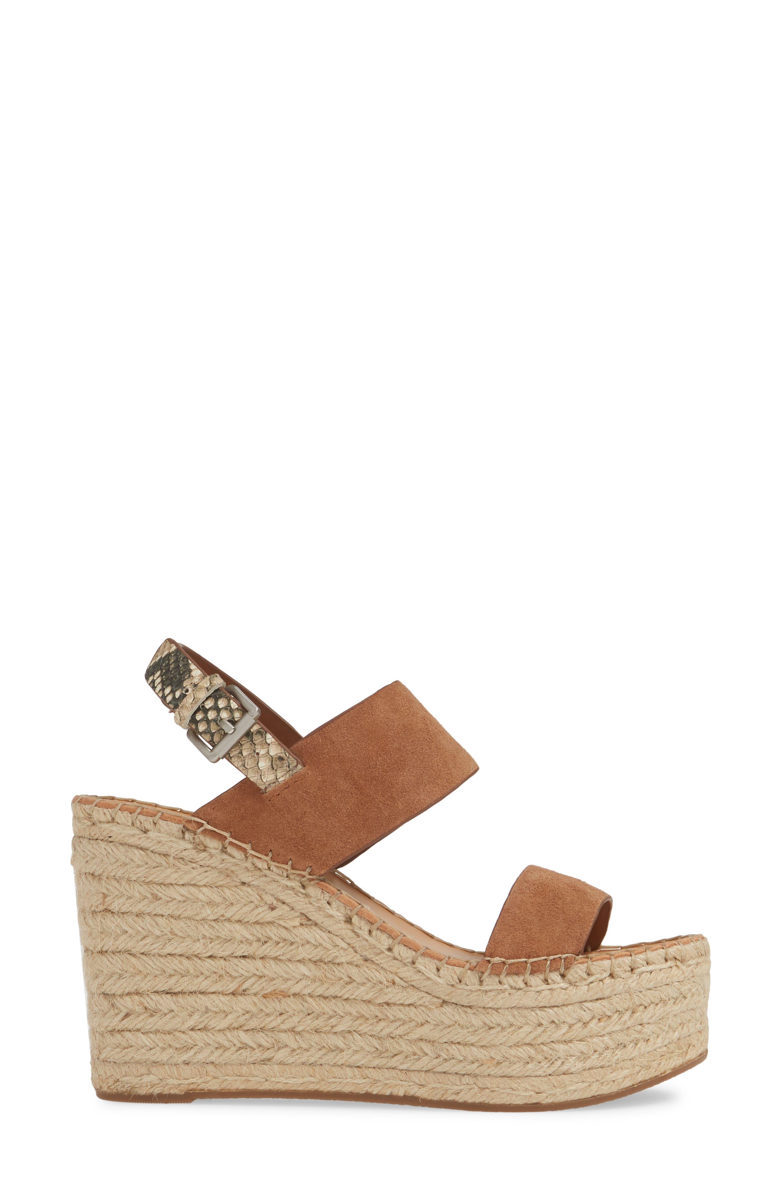 ,                             Spiro Platform Wedge Sandal,                             Alternate thumbnail 3, color,                             BROWN SUEDE