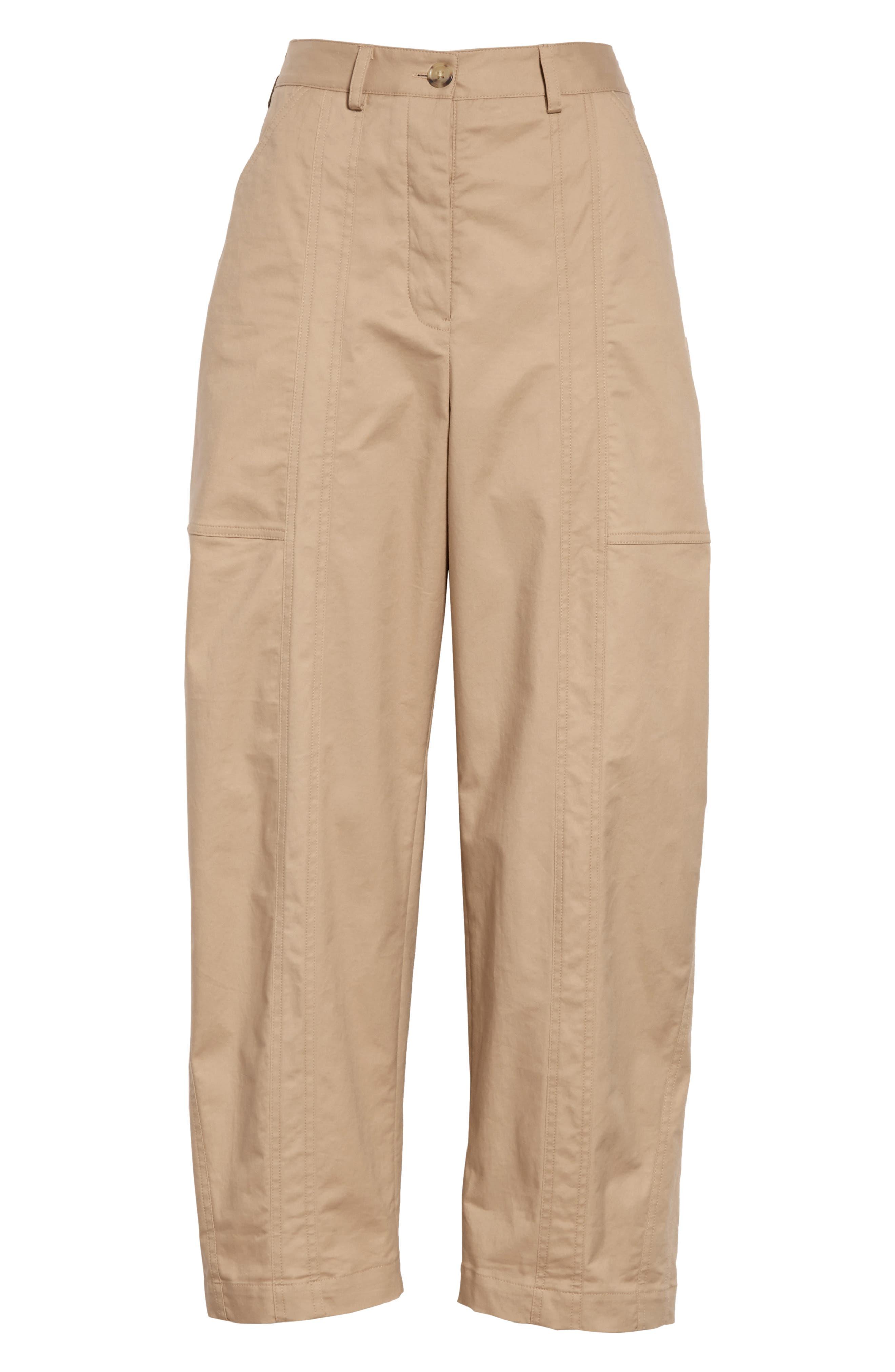 ,                             GREY Jason Wu Stretch Twill Straight Leg Pants,                             Alternate thumbnail 7, color,                             FLAXEN