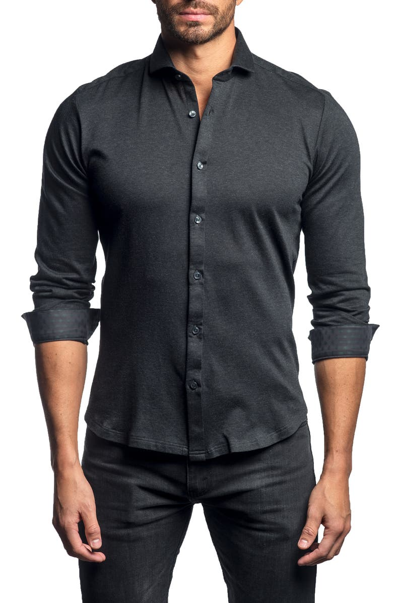 JARED LANG Slim Fit Button-Up Knit Sport Shirt, Main, color, CHARCOAL KNIT
