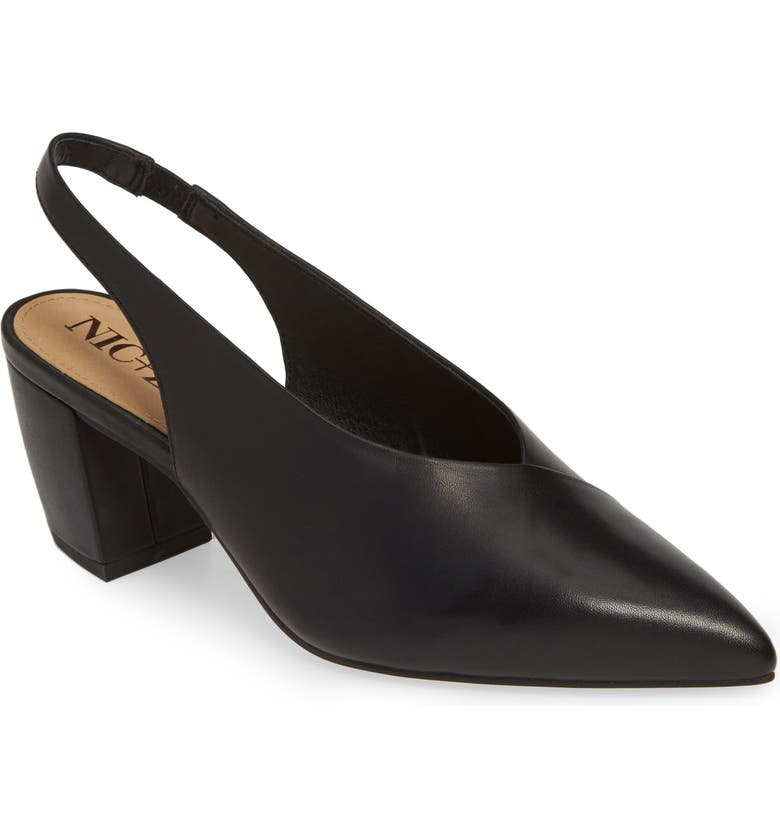 NIC+ZOE Camille Slingback Pointy Toe Pump, Main, color, BLACK LEATHER
