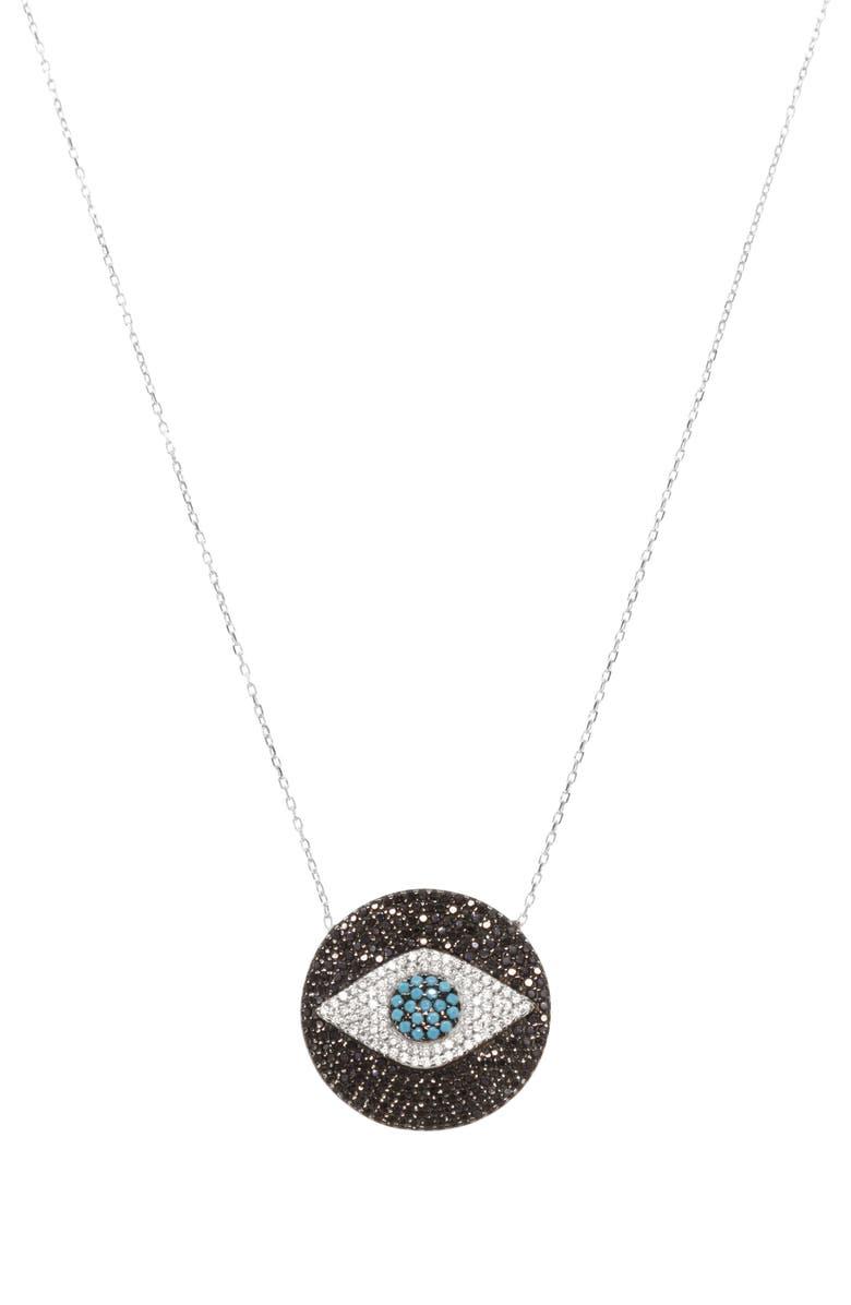 RAGEN JEWELS Evil Eye Disc Pendant Necklace, Main, color, SILVER