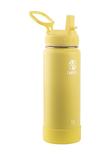 Image of Takeya Canary Actives Insulated 18 oz. Straw Lid Stainless Steel Bottle