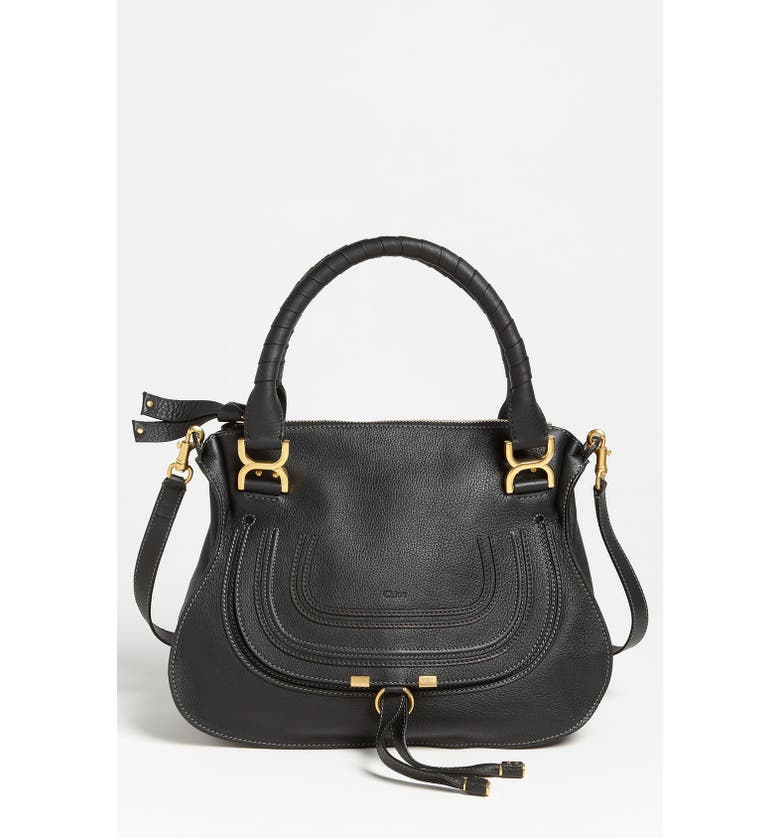 CHLOÉ Medium Marcie Calfskin Leather Satchel, Main, color, BLACK GOLD HRDWRE