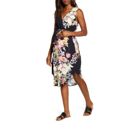 Angel Maternity Floral Maternity/nursing Sundress, Black