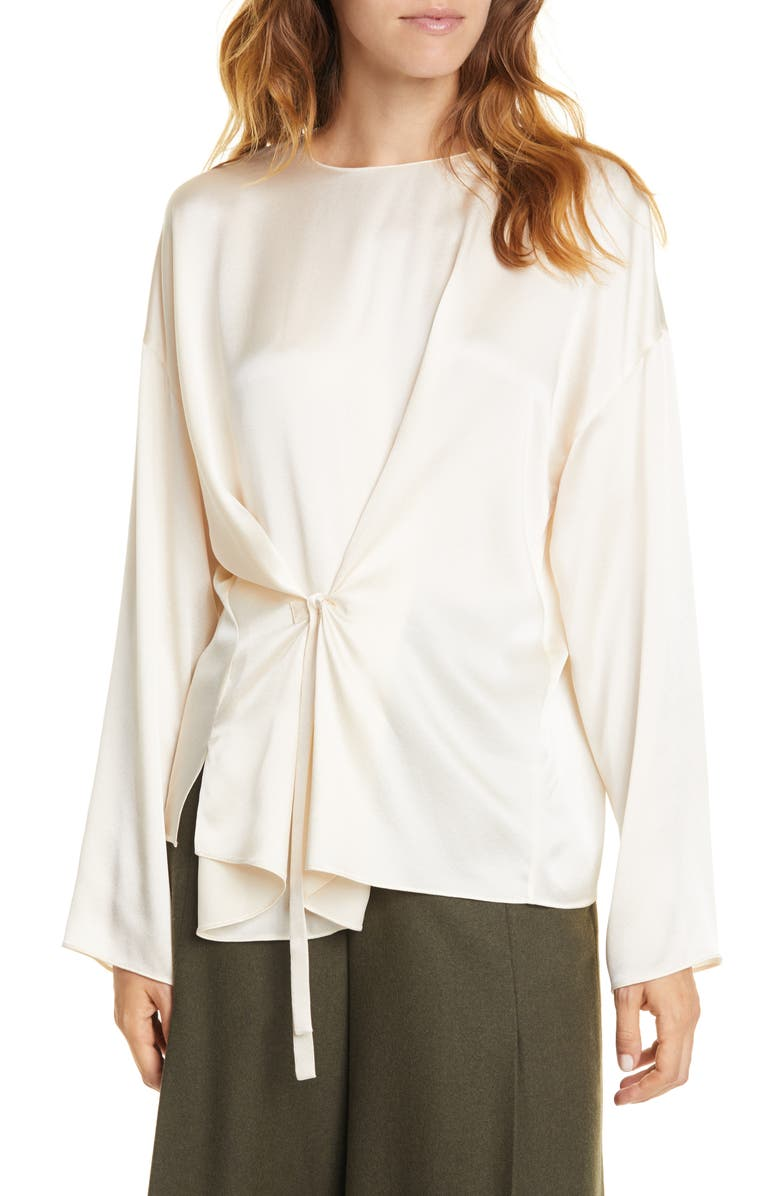 VINCE Knot Front Long Sleeve Silk Blouse, Main, color, CHIFFON