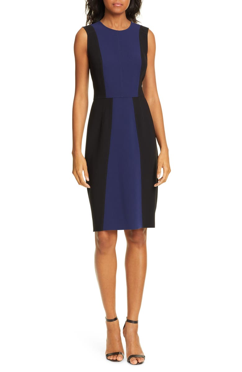 DVF Calliope Sheath Dress, Main, color, NAVY/ BLACK
