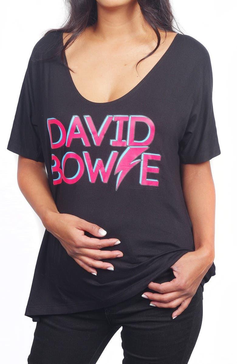 VIP MAMA David Bowie Maternity Graphic Tee & Rebel Rebel Bodysuit Set, Main, color, BLACK