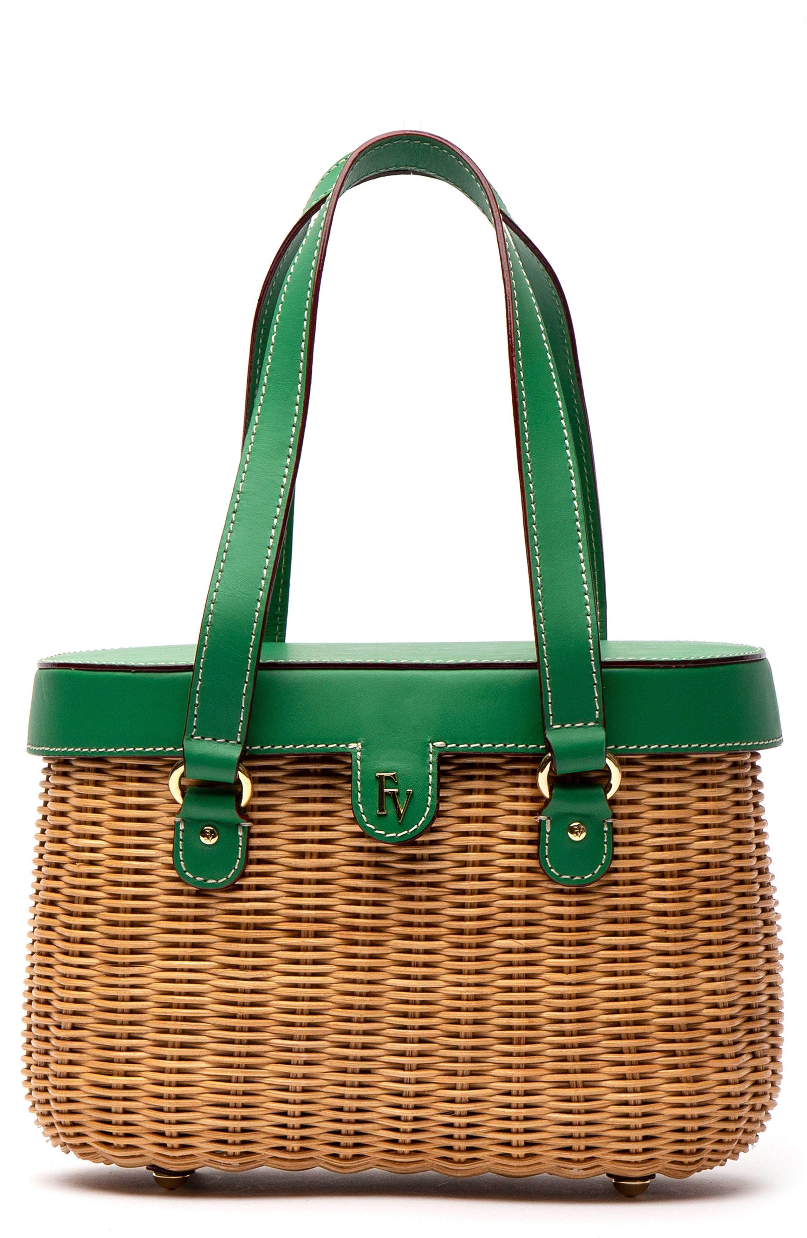 2c18bbcfa Frances Valentine Arielle Wicker Top Handle Bag - Green