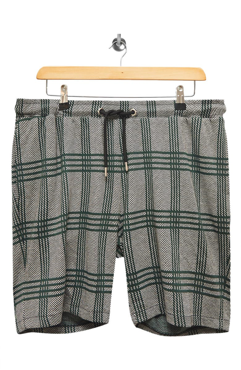TOPMAN Plaid Drawstring Shorts, Main, color, GREY