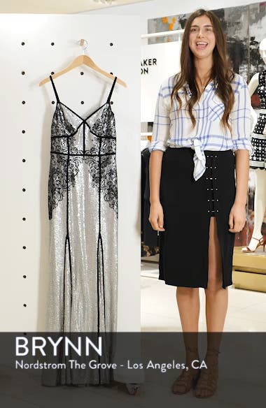 Sleeveless Sequin & Lace Gown, sales video thumbnail