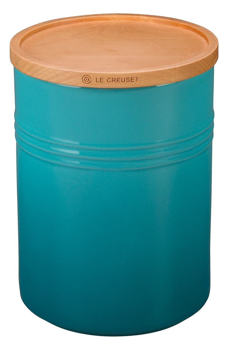 LE CREUSET Glazed 22 Ounce Stoneware Storage Canister with Wooden Lid, Main, color, CARIBBEAN