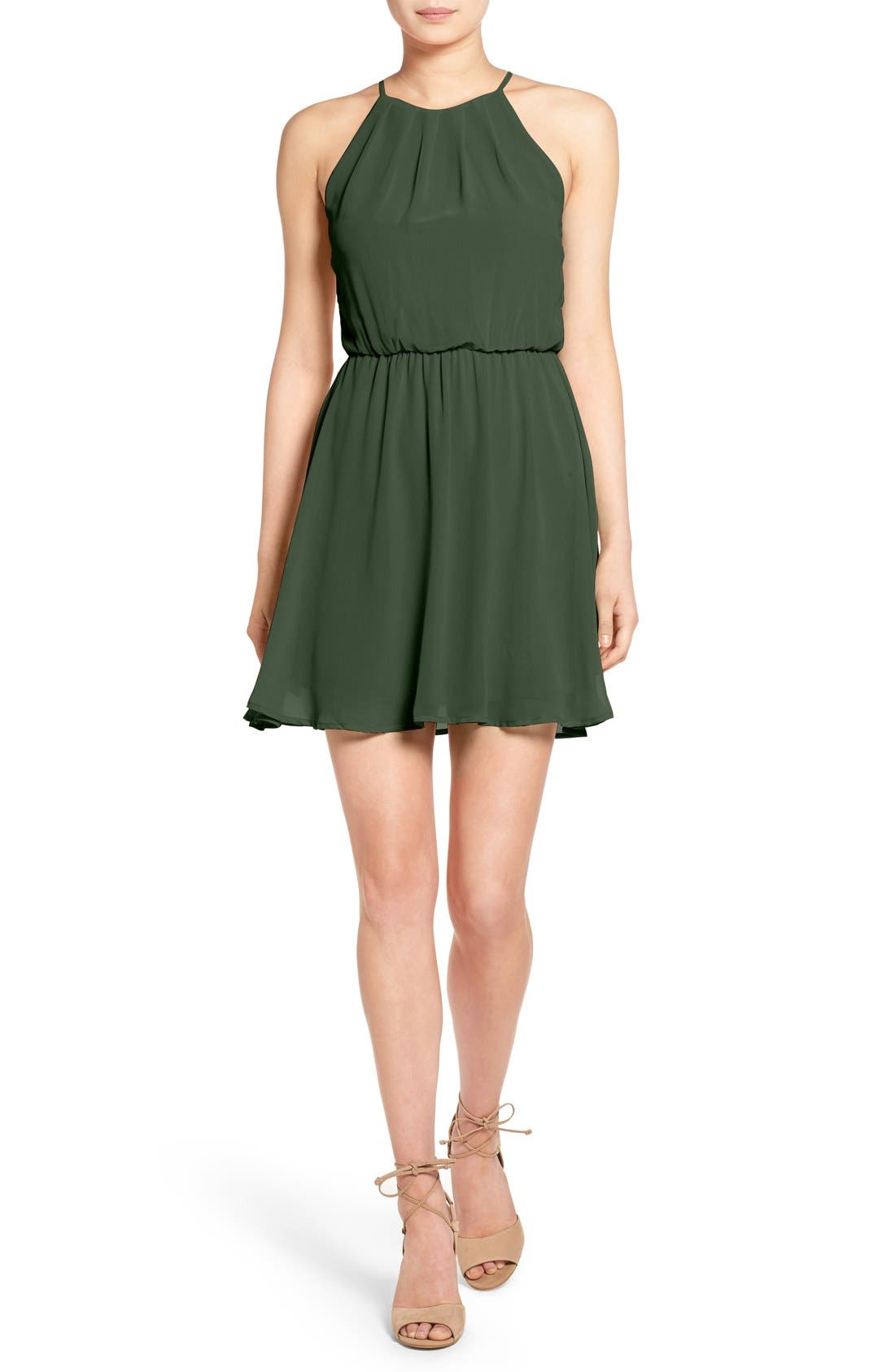 ,                             Blouson Chiffon Skater Dress,                             Main thumbnail 110, color,                             302