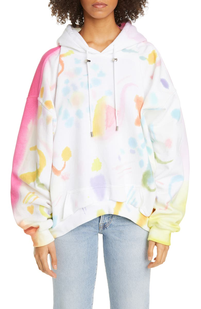 COLLINA STRADA Curved Hem Mixed Pattern Hoodie, Main, color, 900