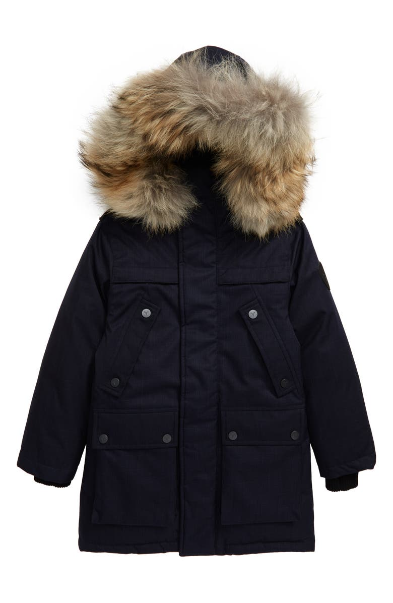 NOBIS Little Yatesy Hooded Down Parka with Removable Genuine Coyote Fur Trim, Main, color, NAVY