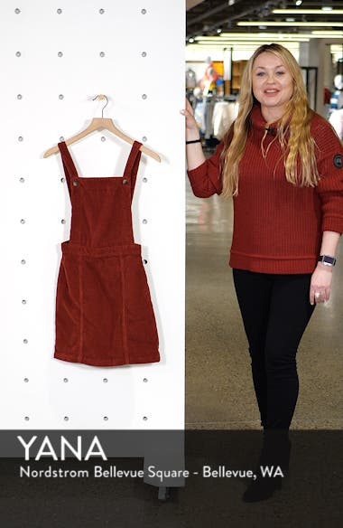 Horn Button Corduroy Pinafore Dress, sales video thumbnail