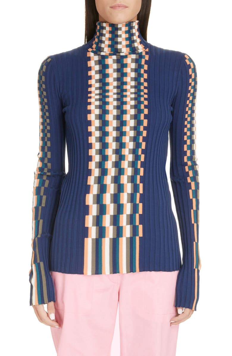 LOEWE Graphic Rib Cotton Sweater, Main, color, BLUE/ MULTI