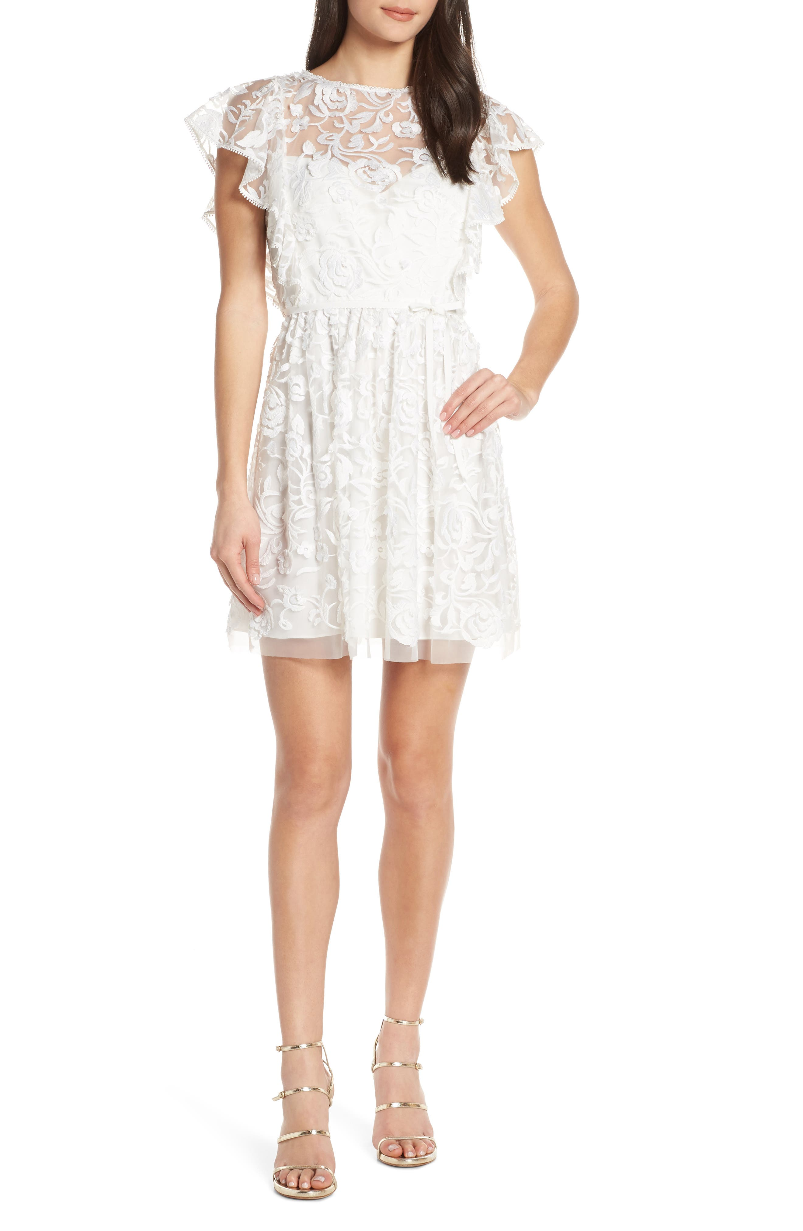 Ml Monique Lhuillier Floral Embroidery Ruffle Party Dress, White