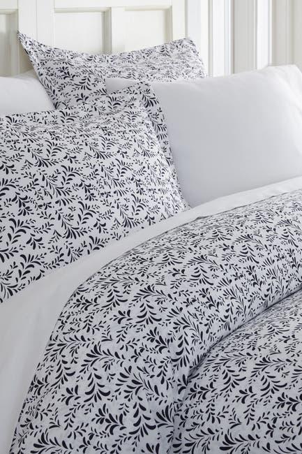 Image of IENJOY HOME Home Spun Premium Ultra Soft 2-Piece Burst of Vines Print Duvet Cover Twin Set - Navy