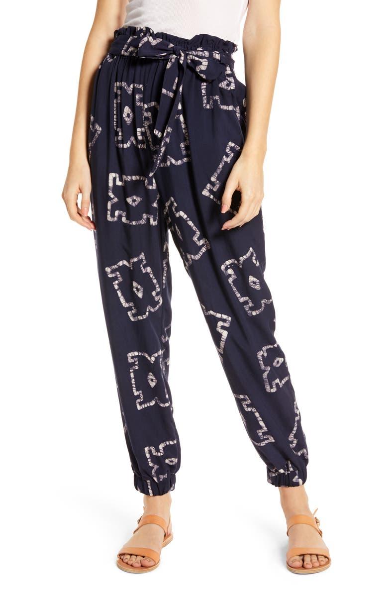THE ODELLS Batik Tie Front Jogger Pants, Main, color, CRETE