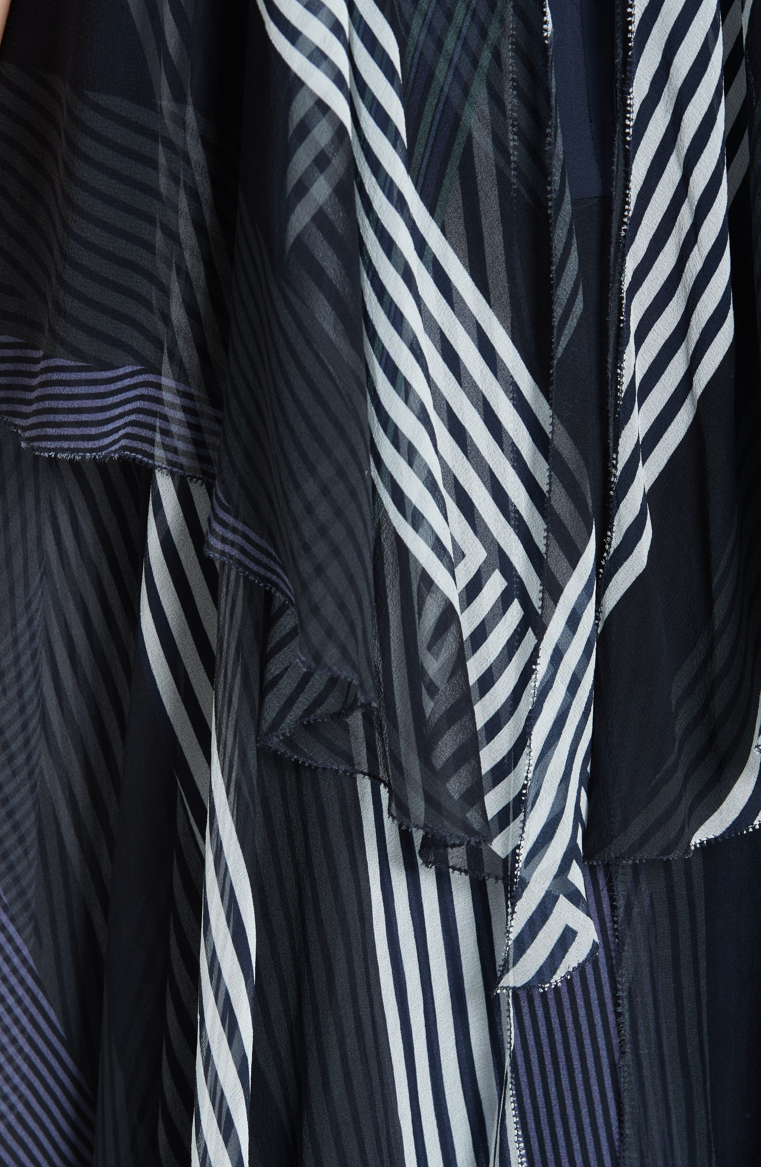 ,                             Collage Stripe Silk Tiered Dress,                             Alternate thumbnail 5, color,                             DARK NAVY MULTI