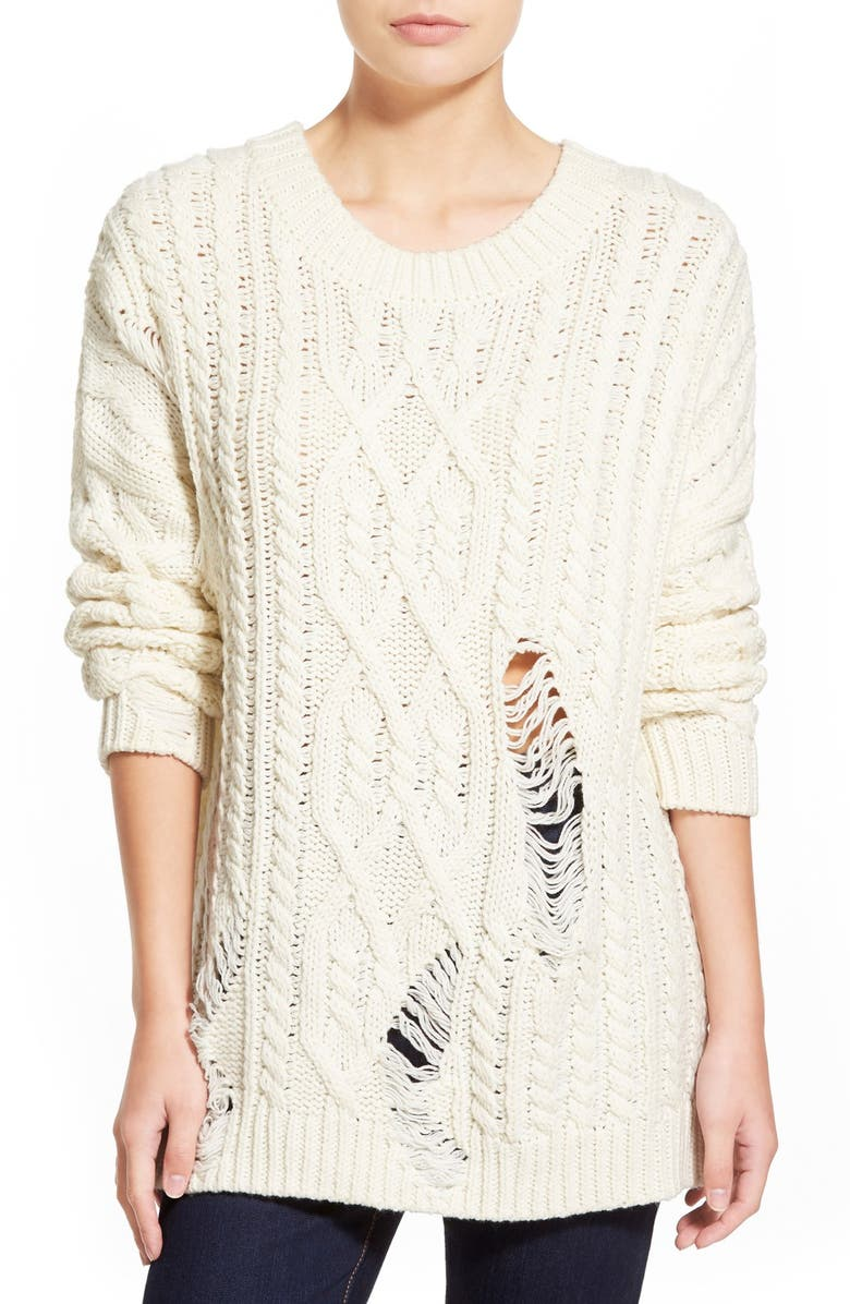 J.O.A. DestroyedCable Knit Pullover, Main, color, IVORY