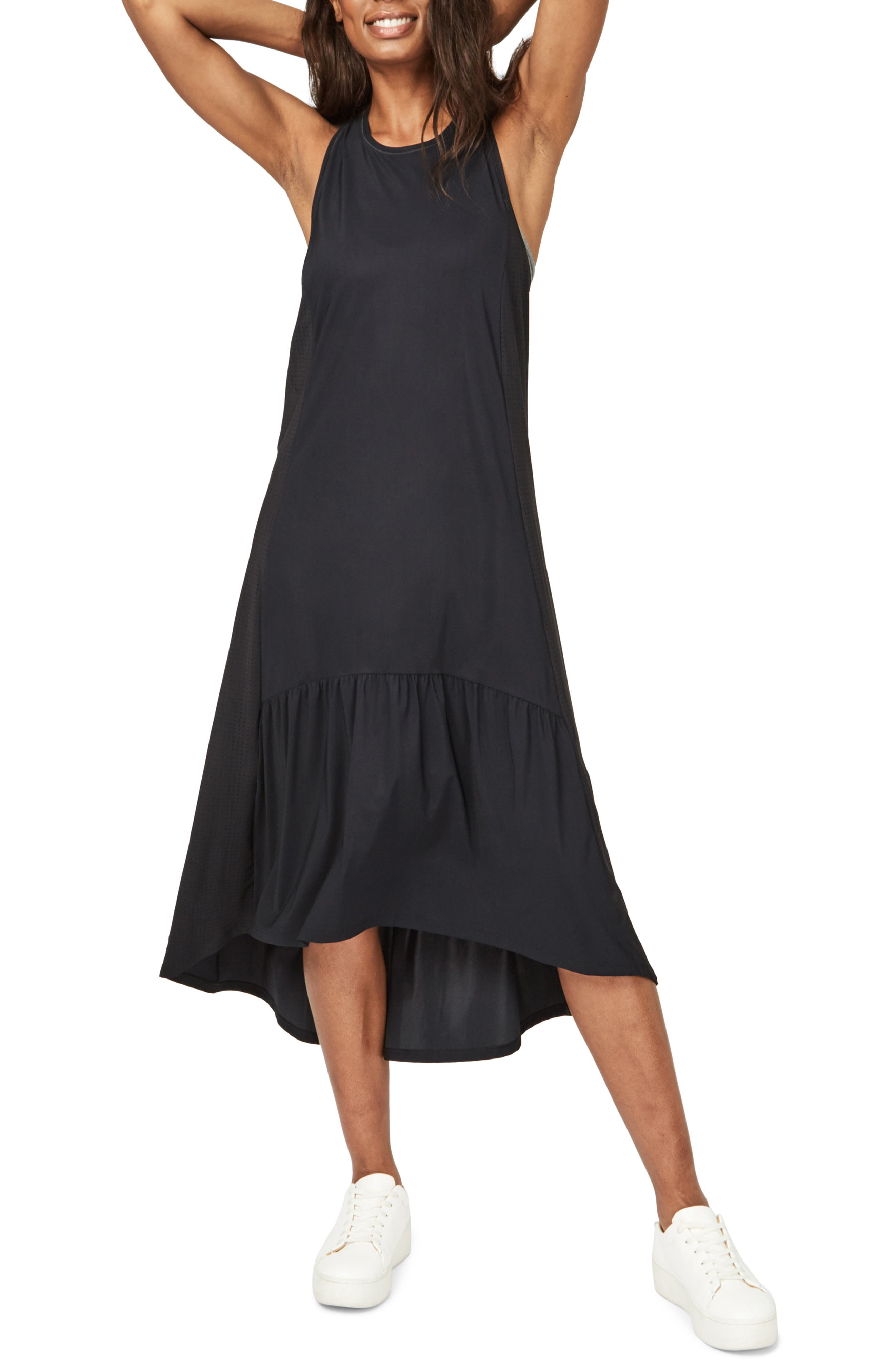 A gently ruffled high/low hem elevates the easygoing feel of a flowy midi dress perfect for relaxing in after a workout. Style Name: Sweaty Betty Ace Racerback Midi Dress. Style Number: 6042254. Available in stores.