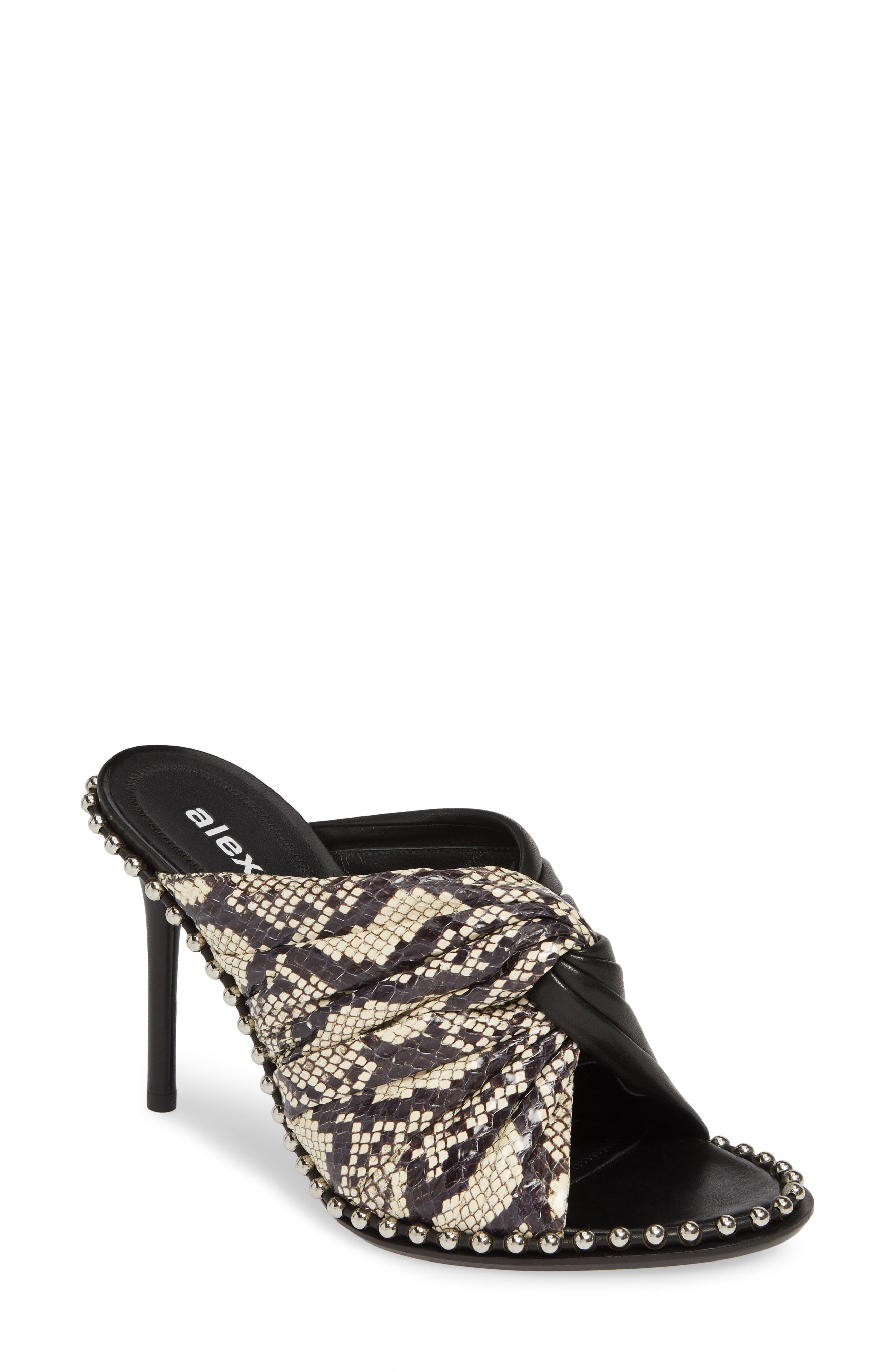 Alexander Wang Lily Genuine Snakeskin & Lambskin Leather Sandal, White