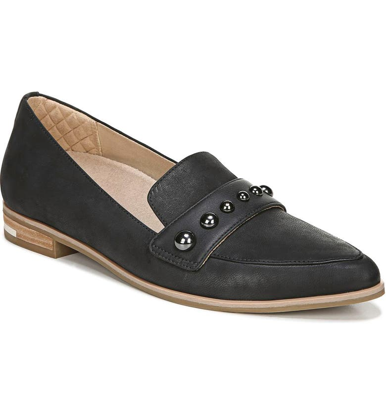 DR. SCHOLL'S Faxon Studded Loafer, Main, color, BLACK LEATHER