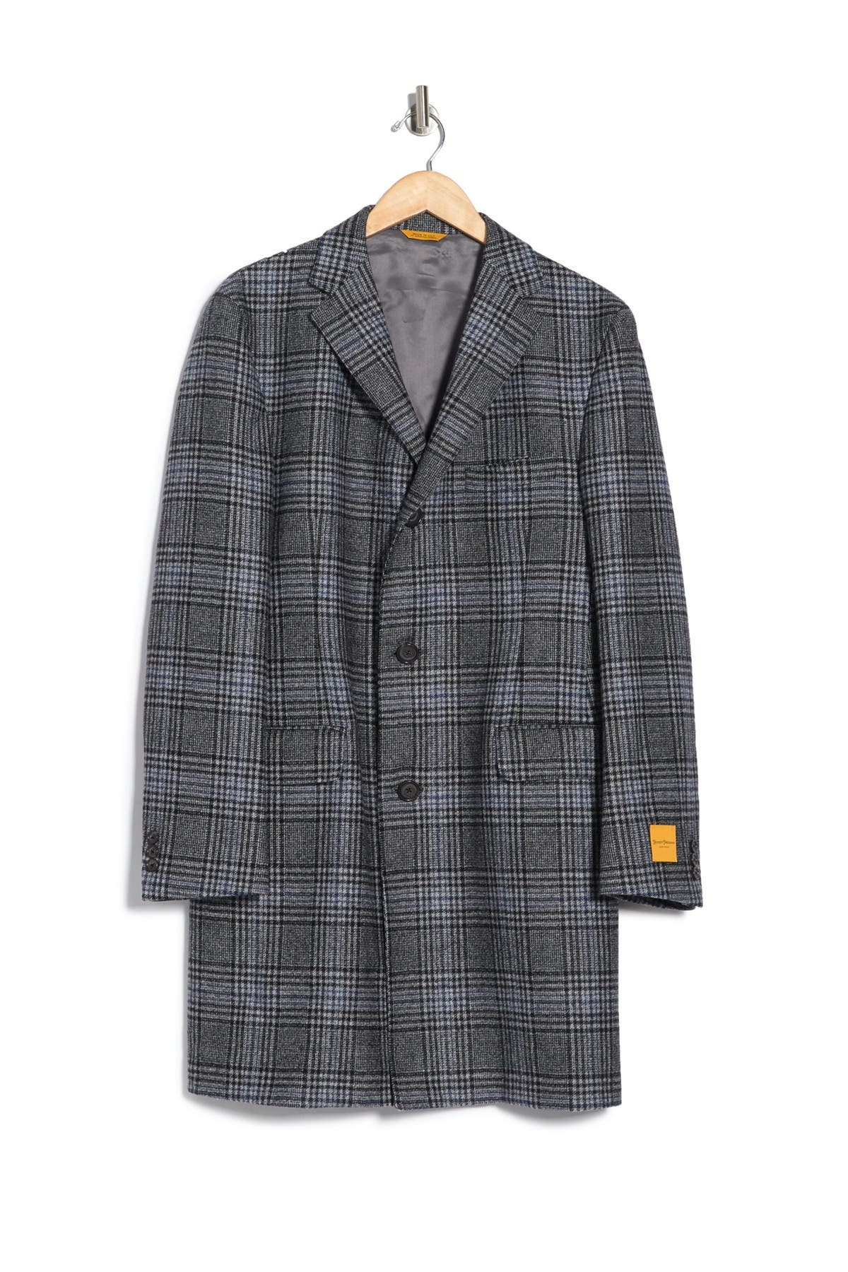 Image of Hickey Freeman Front Button Plaid Coat