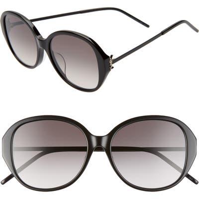 Saint Laurent 57Mm Round Sunglasses - Shiny Black/ Smoke Gradient