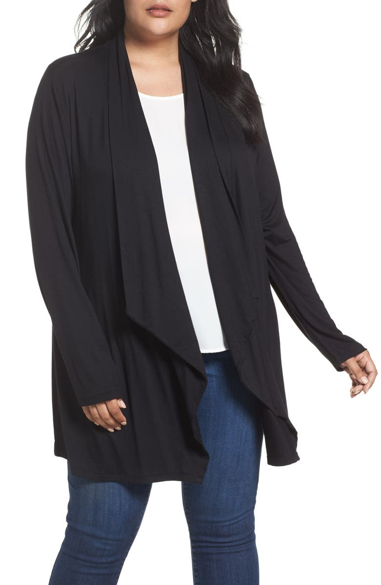 DANTELLE Waterfall Drape Front Cardigan, Main, color, 001