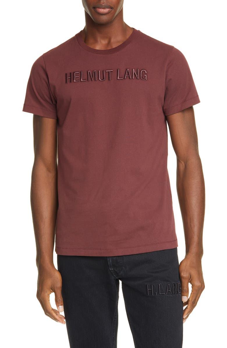HELMUT LANG Embroidered Logo T-Shirt, Main, color, MAHOGANY