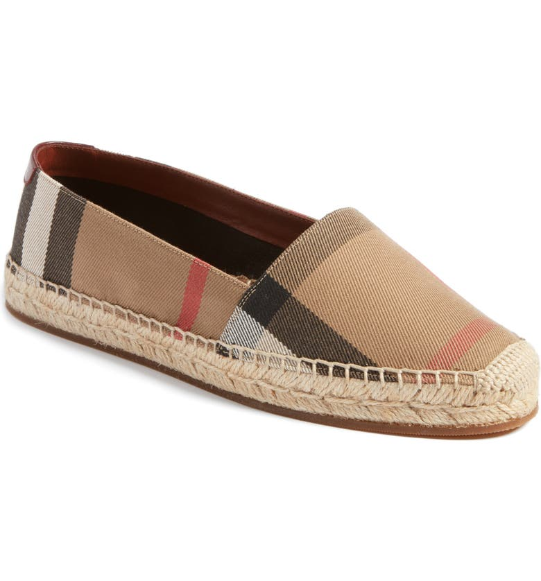 BURBERRY Check Print Espadrille Flat, Main, color, 200
