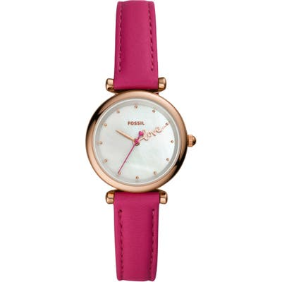 Fossil Carlie Mini Love Leather Strap Watch, 2m