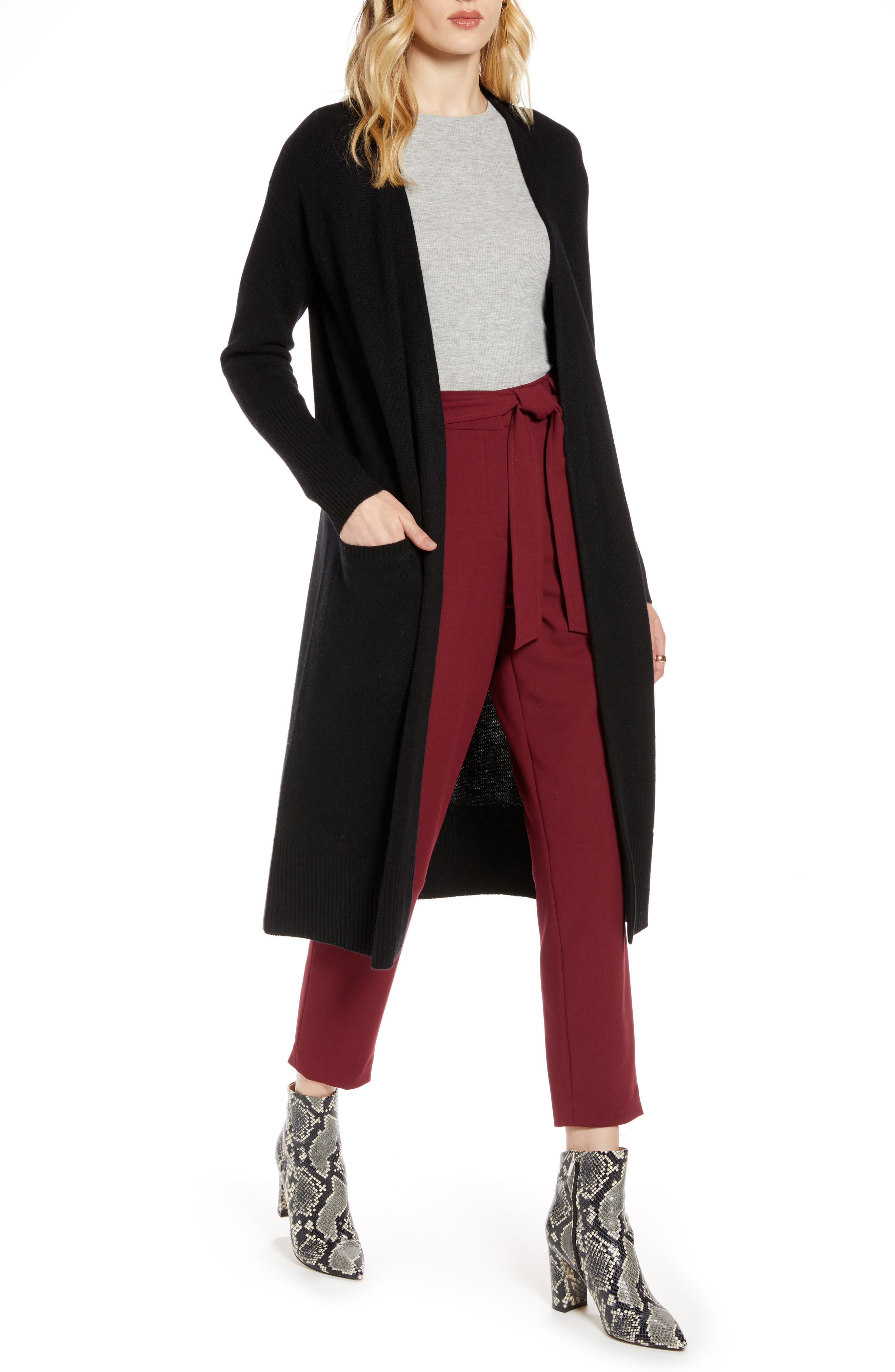 As the weather cools, wool and cashmere come calling, so indulge in the cozy comfort (and handy pockets) of this cardigan, knit long for maximum luxuriating. Style Name: Halogen Wool & Cashmere Long Cardigan (Regular & Petite). Style Number: 5795249. Available in stores.