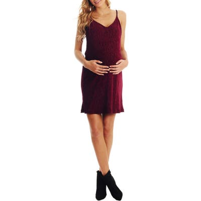 Everly Grey Aurora Plisse Maternity/nursing Dress, Red